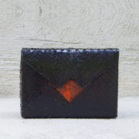 Box Clutch Mini Ayers Snake Skin Black Orange