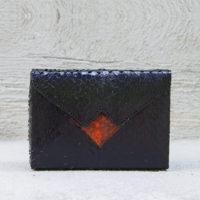 Box Clutch Mini Ayers Snake Skin Black Orange