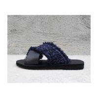 Navy Blue Raffia Leather Slides