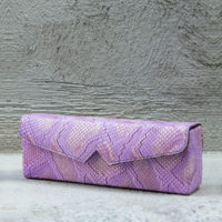 Box Clutch Elongated Lilac Snake Print