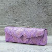 Box Clutch Elongated Lilac Snake Print
