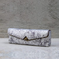 Box Clutch Elongated Silver Monochrome