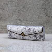 Box Clutch Elongated Silver Monochrome