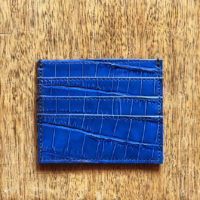 Credit Card Holder Blue Croc Print