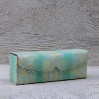 Box Clutch Elongated Mint Green & Gold