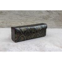 Box Clutch Elongated Army Green Snake Print