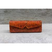 Box Clutch Elongated Orange Ayers Snakeskin