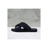Black Raffia Leather Slides