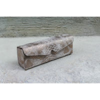 Box Clutch Elongated Bronze White Snake Print