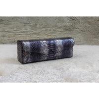 Box Clutch Elongated Gunmetal Snake Print
