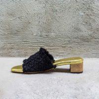Heeled Raffia Open-Toe Mules Black