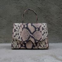 Alpha Classic Pink, Nude & Grey Metallic Snake Print Leather