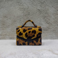 TKO Mini Brown Leopard Print Calf fur with Ostrich print insert