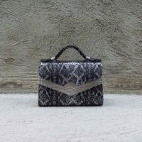 TKO Mini Silver & Dark Grey snake print with silver Croc print insert