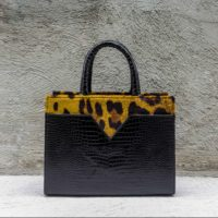 SST Madam Black Crocodile Print With Leopard Print Suede Insert