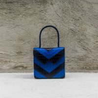 Cash Madam Blue ostrich and Black Crocodile snake print leather