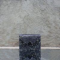 Box Clutch Mini Black & Speckled silver viper print