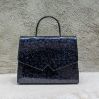 Alpha Madam Patent Black & Blue Stained Glass Print