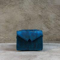 Waist Bag Metallic Blue Lizard Print