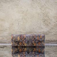 Box Clutch Elongated Grey & Orange Snake Print