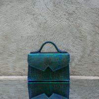 TKO Mini Green Oil Spill Crocodile Effect Leather