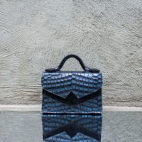 TKO Mini Silver Blue Crocodile Print with Black Calf Fur