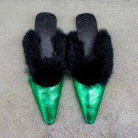 Metallic Green Calf Leather and Black Rabbit Fur Mules