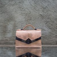 TKO Mini Rose Gold Reptile print leather with Grey Snake print insert