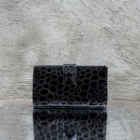 Travel Wallet Black Patent Pebble Print