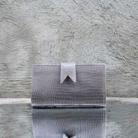 Travel Wallet Grey Crocodile Print Leather
