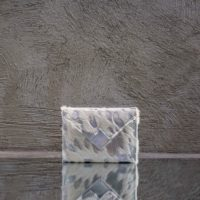 Box Clutch Mini White Calf fur & Silver Calf