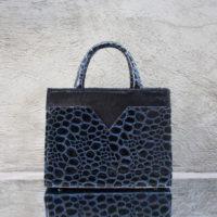 SST Madam Blue Black Pebble Print Leather