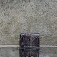Box Clutch Mini Gunmetal Snake Print