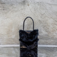 Cash Madam Patent Black Croc Print And Black Rabbit Fur