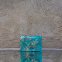 Box Clutch Mini Metallic Turquoise Watercolor Effect Leather