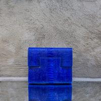 Ice Clutch Persian Indigo Blue Ostrich Shin Print Leather