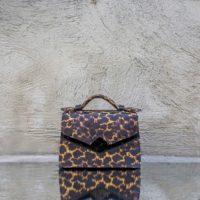TKO Mini Mustard Black Leopard Print And Black Ostritch Print Leather