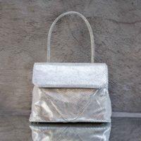 Harmony Metallic Silver Lurex Snake Print Leather