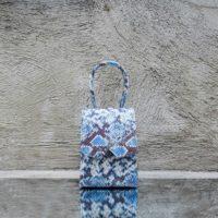 Alpha Mini Iridescent Blue White Grey Snake Print Leather