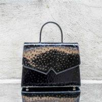 Alpha Madam Patent Black Ostrich Print Leather