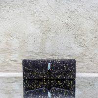 Box Clutch Elongated Black Gold  Splash Quartz Stone