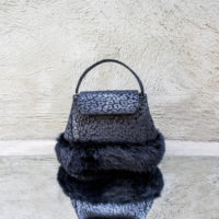 Ice Princess Metallic Black Calf Print Leather With Rabbit fur
