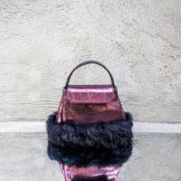 Ice Princess Metallic Aubergine Leather With Rabbit Fur