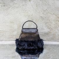Ice Princess Metallic Black Textured Leather Rabbit Fur