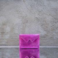 Box Clutch Mini Metallic Magenta Lizard Print Calf Skin