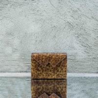 Box Clutch Mini Metallic Brown Gold Reptile Print Leather