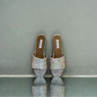 Elegant Slides Taupe Grey Python Snake Embossed Leather