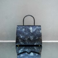 Alpha Classic Smoky Black Silver Snake Embossed Leather