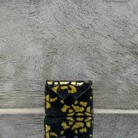 Box Clutch Mini Black Laser Cut Calf Hide Yellow Gold Calf Leather