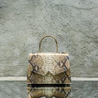 Alpha Classic Natural Gold Python Snake Print Leather